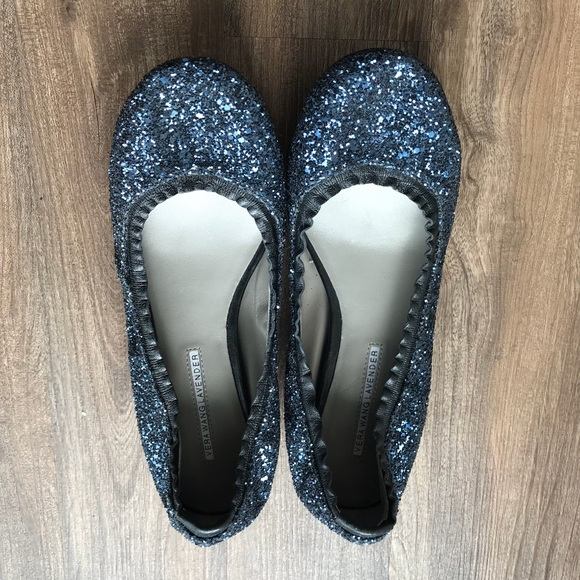 Vera Wang Lavender Label Shoes - Vera Wang Lavender Blue Sparkle Flats 8